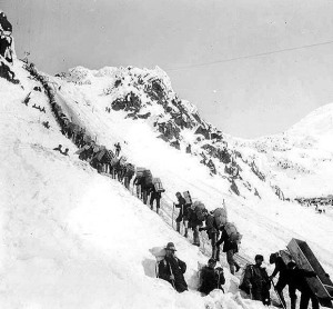 Infamous Photo of Stampeders and Chilkoot Pass From the Internet